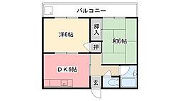 兵庫県西宮市甲子園口6丁目の賃貸アパートの間取り