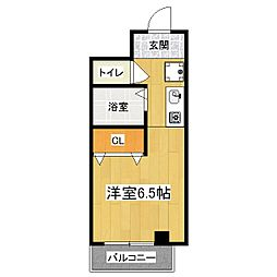 京都府京都市山科区椥辻草海道町の賃貸マンションの間取り