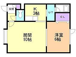 パークマンションII 2階1LDKの間取り