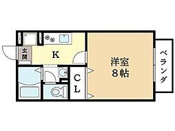 京都府京田辺市三山木谷ノ上の賃貸アパートの間取り