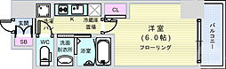 エステムコート大阪WEST 8階1Kの間取り