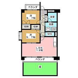 愛知県名古屋市天白区保呂町の賃貸マンションの間取り