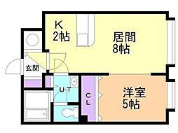 R−FREE真栄21 1階1LDKの間取り