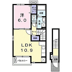 神奈川県平塚市北金目3丁目の賃貸アパートの間取り