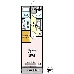 愛知県額田郡幸田町芦谷の賃貸アパートの間取り