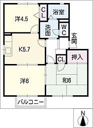 ガーデンハイツA棟[2階]の間取り