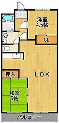 プリーメル武庫2[2階]の間取り
