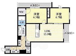 近鉄大阪線 五位堂駅 徒歩1分の賃貸マンション 1階2LDKの間取り