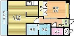 福岡県北九州市小倉南区下石田1丁目の賃貸アパートの間取り
