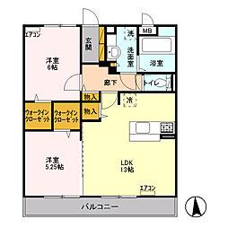 東京都三鷹市新川6丁目の賃貸アパートの間取り