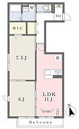 ウィット和泉中央南 2階2LDKの間取り