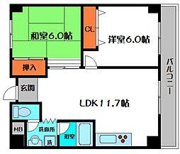 大橋マンション二番館[4階]の間取り
