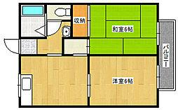 兵庫県神戸市垂水区上高丸1丁目の賃貸アパートの間取り