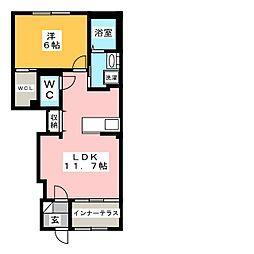 カーサグランツII 1階1LDKの間取り