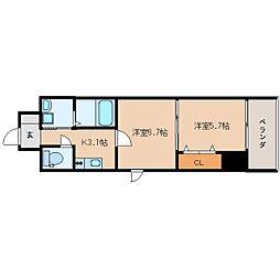 JR東海道本線 静岡駅 徒歩16分の賃貸マンション 4階2Kの間取り