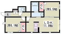 JR東海道・山陽本線 朝霧駅 徒歩18分の賃貸アパート 1階2LDKの間取り