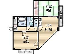 メロディハイム[3階]の間取り