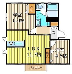 埼玉県志木市上宗岡2丁目の賃貸アパートの間取り
