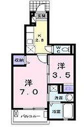 JR高徳線 木太町駅 徒歩9分の賃貸アパート 1階1Kの間取り