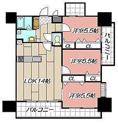 ガーデンコート砂津[8階]の間取り