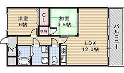 大阪府大阪市阿倍野区松虫通2丁目の賃貸マンションの間取り