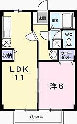 兵庫県姫路市網干区宮内の賃貸アパートの間取り