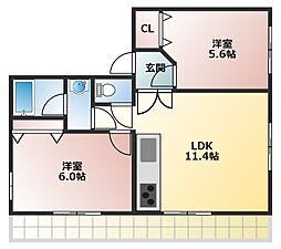 ルナステーツ魚住[3階]の間取り