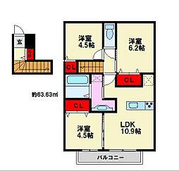 D-room南福岡III[2階]の間取り