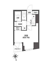 都営大江戸線 牛込柳町駅 徒歩3分の賃貸マンション 4階1Kの間取り