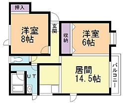 ハイツYEBISU 2階2LDKの間取り