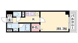 プレシャスビュー 8階1Kの間取り