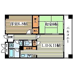 大阪府大阪市西淀川区御幣島3丁目の賃貸マンションの間取り