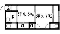 FUKIWAコーポ[2階]の間取り