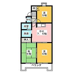 リバーサイドハーチャ[3階]の間取り