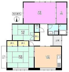 長野県松本市新橋の賃貸アパートの間取り