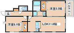 JR山陽本線 朝霧駅 徒歩18分の賃貸アパート 1階2LDKの間取り