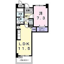 ラ ヴィ カルム 2階1LDKの間取り