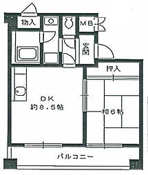兵庫県西宮市甲東園3丁目の賃貸マンションの間取り