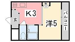 兵庫県姫路市白国4丁目の賃貸マンションの間取り