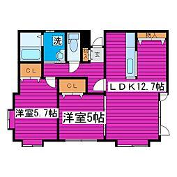 札幌市営南北線 麻生駅 徒歩12分の賃貸アパート 1階2LDKの間取り