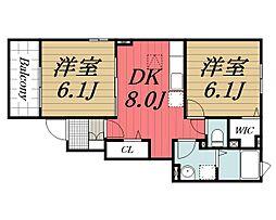 千葉県四街道市小名木の賃貸アパートの間取り