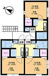 アメニティ大巌寺[201号室]の間取り