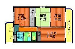 愛知県安城市今本町7丁目の賃貸マンションの間取り