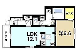 西登美ヶ丘6丁目アパートII[1階]の間取り