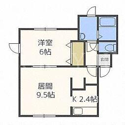 北海道札幌市豊平区月寒東二条9の賃貸アパートの間取り