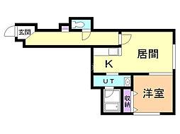 ブレッシング札幌白石II(旧LEETOWNH) 2階1LDKの間取り