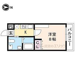 京都市営烏丸線 今出川駅 徒歩15分の賃貸マンション 4階1Kの間取り