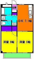 静岡県浜松市中区細島町の賃貸アパートの間取り