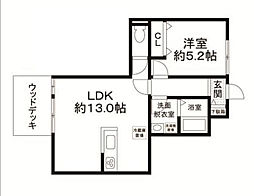 東京都世田谷区赤堤2丁目の賃貸アパートの間取り