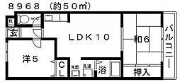 川辺マンション[303号室号室]の間取り